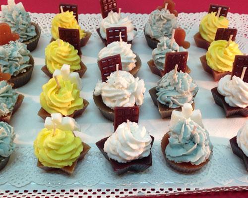 Velas hechas a mano en barcelona. cupcakes