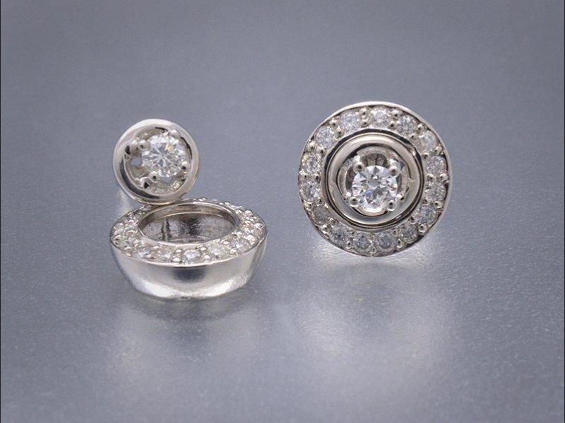 Pendientes desmontables de oro blanco y diamantes
