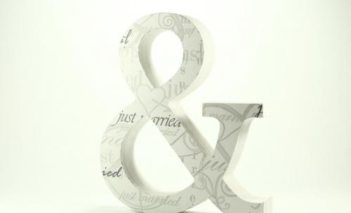 Letras de madera decoradas con motivo Just Married